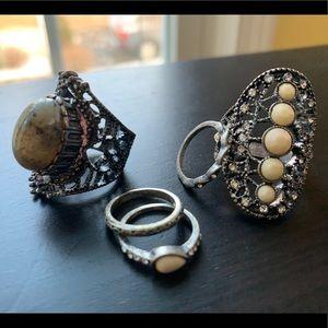 Vintage Art Deco boho ring set
